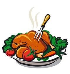 Roasted chicken vector