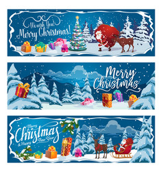 santa claus christmas gifts and reindeer sleigh vector image
