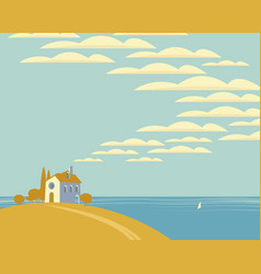 seascape with a village house on a hill vector image
