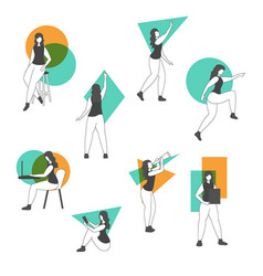 set a woman in different poses set a woman vector image