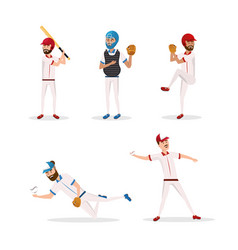set baseball players team with uniform and vector image