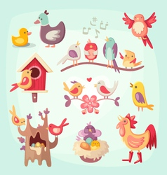 set colorful spring birds vector image