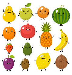 set cute fruits characters vector image