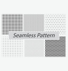Set dotted seamless pattern or halftone dot vector