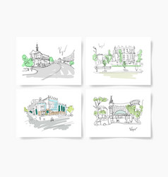 Set of four postcards about kyiv ukraine landscape vector