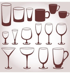 Set of glassware vector
