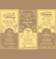 Set of isolated stickers labels for clover honey vector