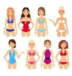 Set of women in different swimsuit vector image