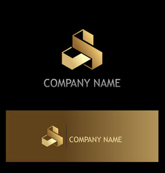 shape 3d cube technology gold logo vector image