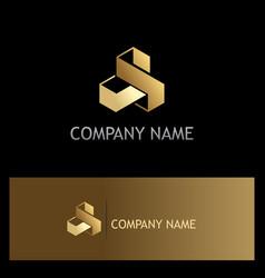 Shape 3d cube technology gold logo vector