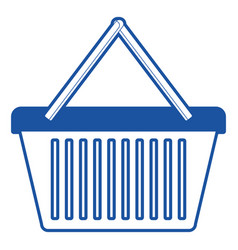 shopping basket icon in blue silhouette vector image
