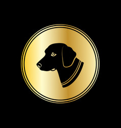 silhouette of dog head in gold circle symbol 2018 vector image