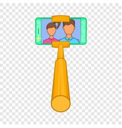 Smartphone photographs on selfie stick icon vector