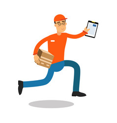 smiling delivery man running with cardbox and vector image