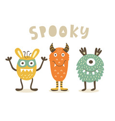 spooky cute monster characters vector image