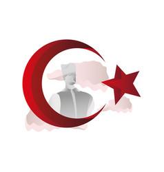 Star crescent islam religious symbol turkey flag vector