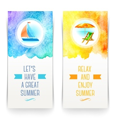 Summer holidays and travel banners with greetings vector image