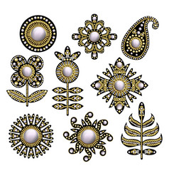 Textile embroidered patches with sequins vector