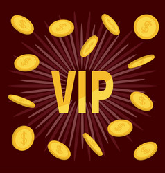 Vip golden text flying coin rain with dollar sign vector