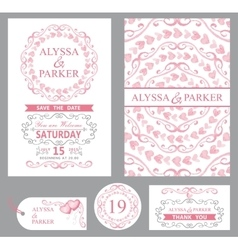 Wedding invitation setPink decorgrey swirls vector image