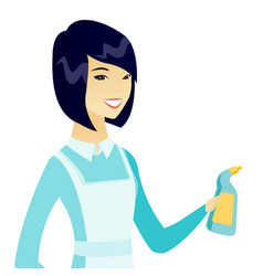 Young asian cleaner in uniform holding detergent vector