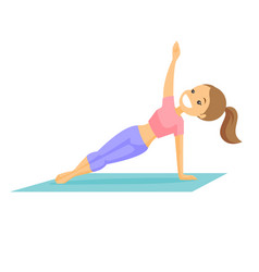 Young caucasian white woman holding a side plank vector