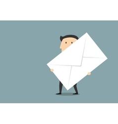 Businessman with big paper postal envelope vector image