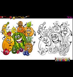 Cartoon fruits coloring page vector
