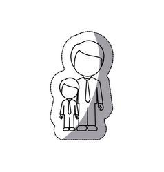 contour man with his son icon vector image