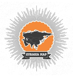 Eurasia map with vintage style star burst retro vector image