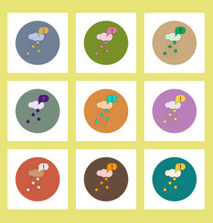 Flat icons set of volcanic elements and vector