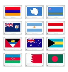 Twelve National Flags on Metal Texture Plates vector image vector image