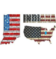 USA state of Indiana on a brick wall vector image vector image