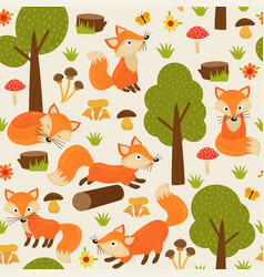 seamless pattern with fox in forest vector image vector image