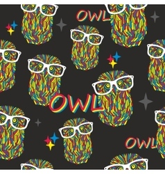 Seamless pattern with hipster owls vector image vector image