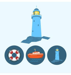 Set icons with boat lifebuoy lighthouse vector image vector image