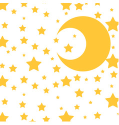 cute moon and stars pattern vector image vector image