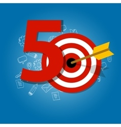 fifty years target in business calendar list of vector image