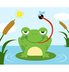 Frog Catching Fly vector image vector image
