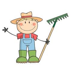 Gardening Kid Waving A Greeting vector image