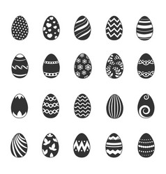 paschal egg icons easter eggs with flowers vector image