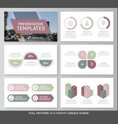 Set of green and purple elements for multipurpose vector
