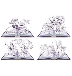 Set open book fairy tale vector image
