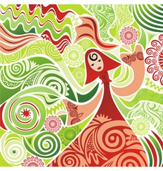 Beautiful girl nature spring summer background vector image vector image