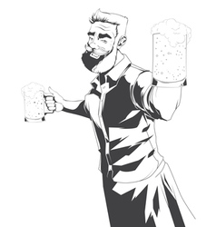 Drawing of barman silhouette vector image