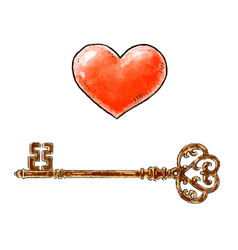 hand drawn red heart and vintage key design vector image vector image