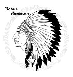 Native American In Profile Monochrome vector image