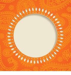 Orange paisley frame vector image