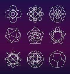 Sacred geometry symbols set vector image vector image