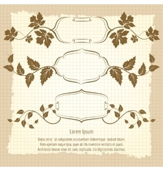 Vintage frame design with floral branches vector image vector image